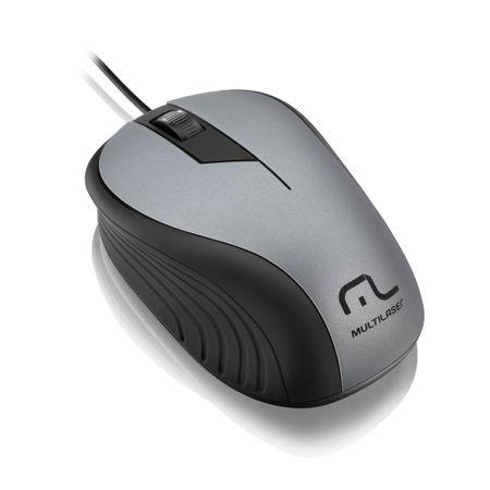 Mouse Multilaser Emborrachado Cinza e Preto com Fio USB - MO225