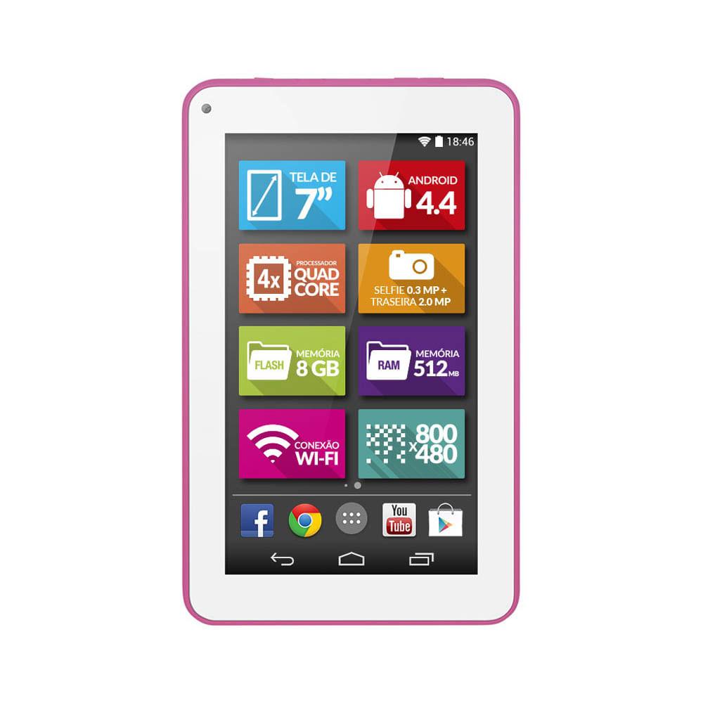 Tablet Multilaser ML Supra Rosa Quad Core Android 4.4 Kit Kat Dual Câmera Wi - Fi Tela 7 Memória 8GB NB201 NB201