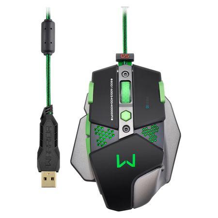 Mouse Gamer Multilaser Warrior 4000DPI + Função Macro Led s Multimídia - MO249