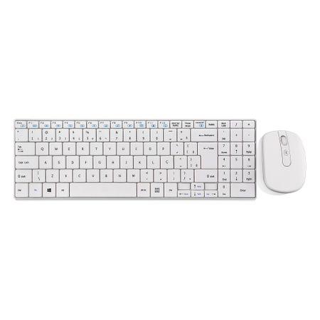 Teclado e Mouse Sem Fio 2.4 Ghz Multimidia Branco USB Slim - TC203