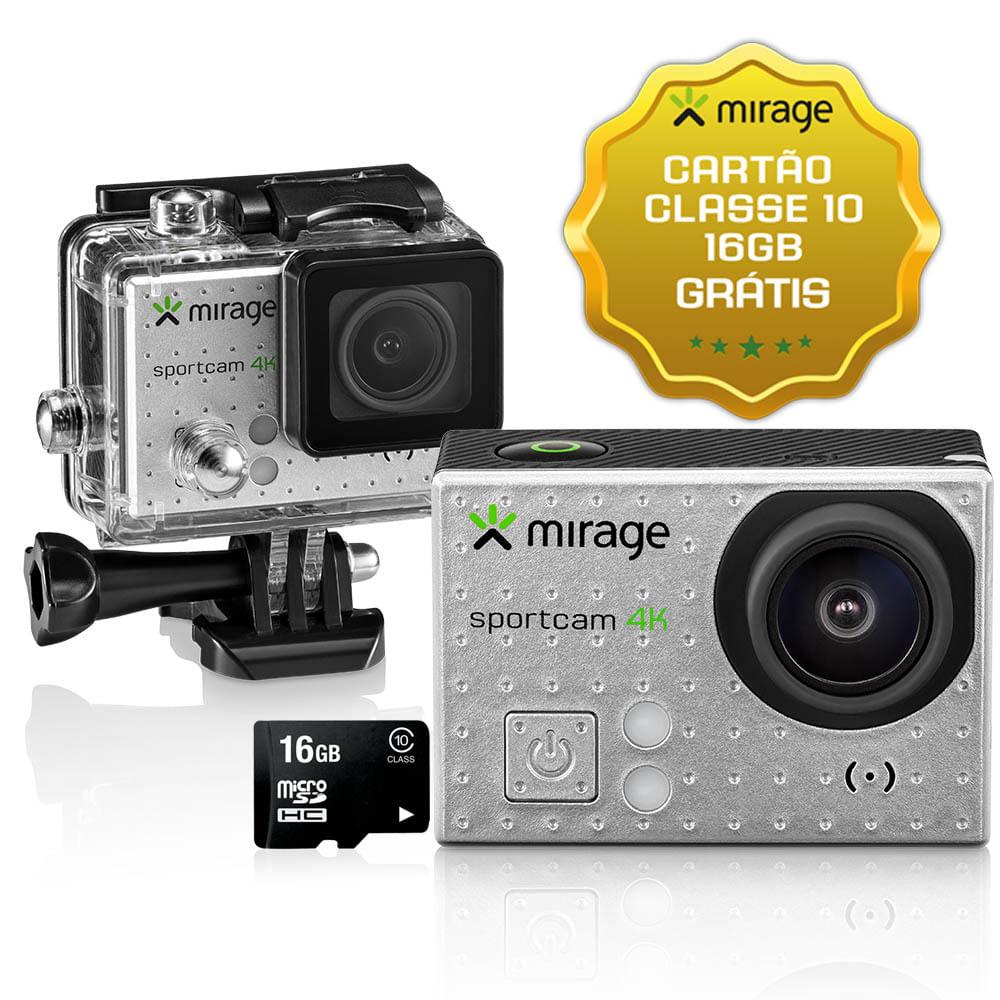 Câmera De Ação Sport 4k, Tela De LCD 2 ´ Sport 16MP + Cartão 16GB Prata Mirage - MR3001 MR3001