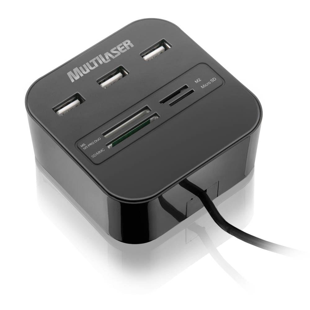 Hub Multilaser USB 3 Portas + Leitor De Cartão Universal 2.0 - AC121