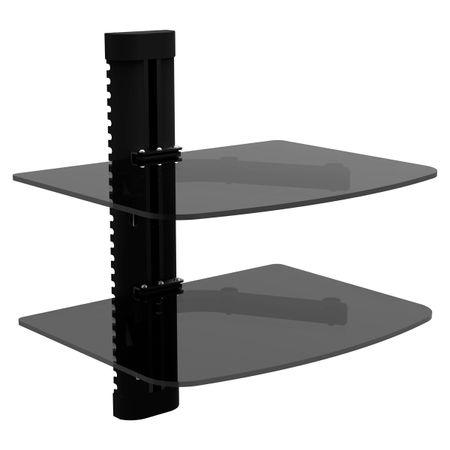 Suporte Duplo de Ferro e Vidro Universal Preto para Modem e DVD AC281