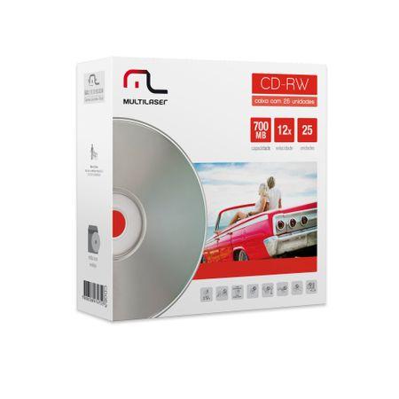 Midia CD-RW Vel. 12X - 25 Un. Envelope Impresso Em Caixa Multilaser CD053