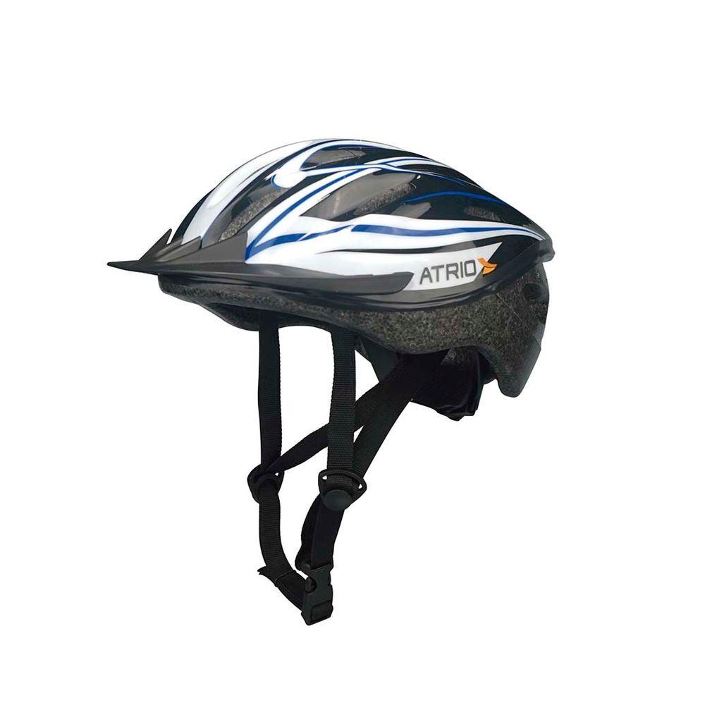254303e36 Capacete para Ciclismo MTB Tam.M Alças Ajustáveis e 19 Entradas de Ar  Azul Branco Atrio - BI037