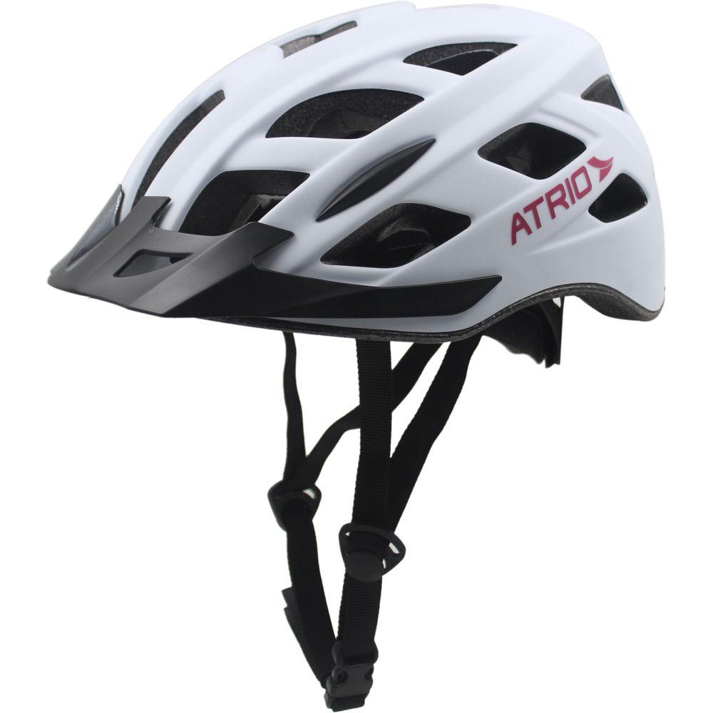 a23c19e50 Capacete para Ciclismo Tam. M com LED Viseira Removível e 19 Entradas de  Ventilação Branco Rosa Atrio - BI104