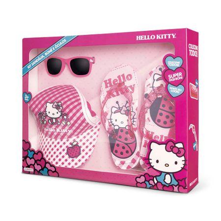 Kit Óculos de Sol + Boné + Chinelo tamanho 29/30 da Hello Kitty para +3 Anos...