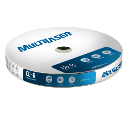 Midia Multilaser CD-R Vel. 52X - 10 Un. Shrink - CD027