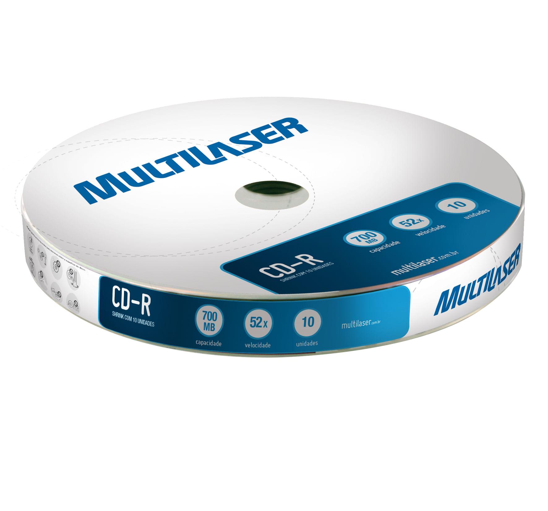 Mídia Multilaser Cd-R Vel. 52X - 10 Un. Shrink - CD027