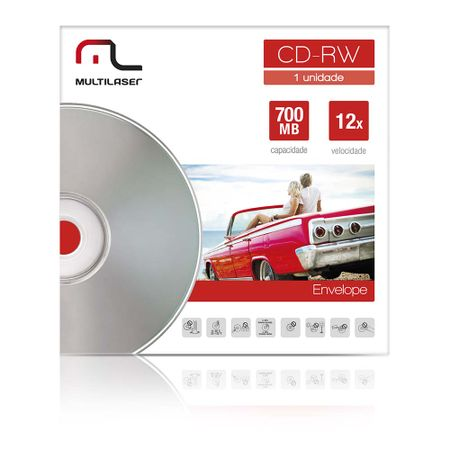 Mídia Cd-Rw Vel. 12X - 1 Un. Envelope Impresso Em Caixa Multilaser CD037