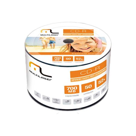 Midia Cd-R Vel. 52X - 50 Un. Shrink Imprimivel Branco Multilaser - CD052