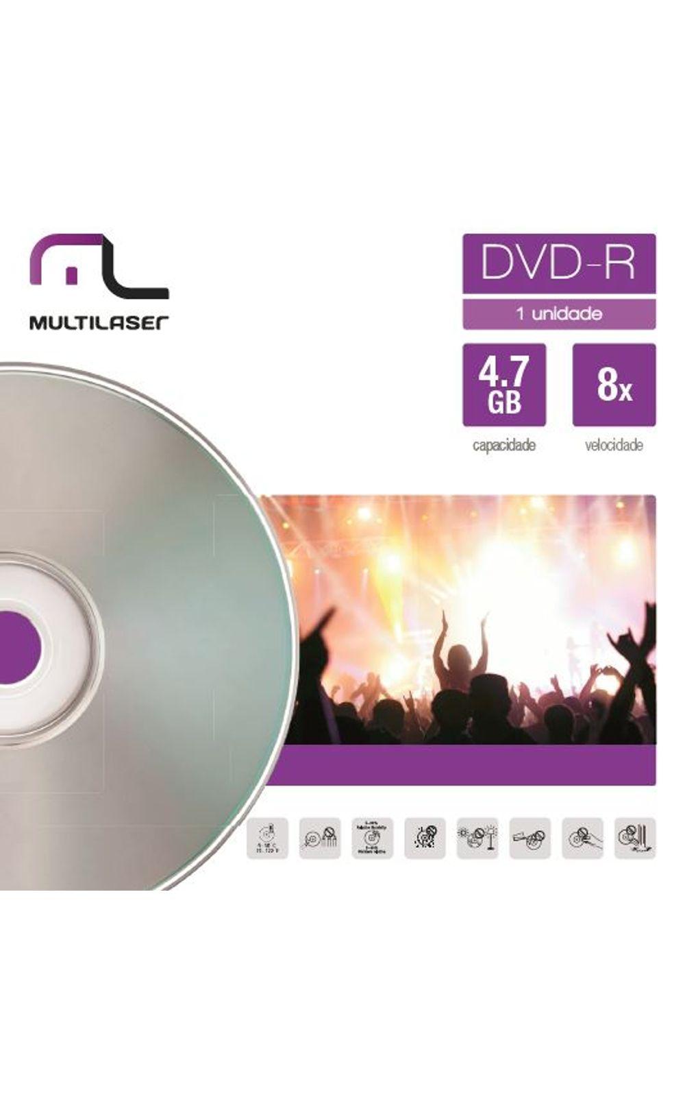 Foto 1 - Mídia Dvd-R Velocidade 16X Unitário Em Envelope Multilaser DV018