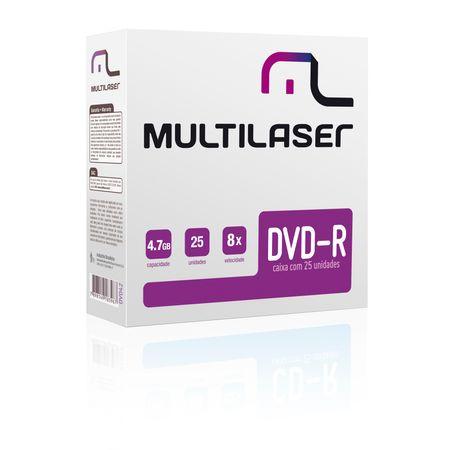 Mídia Multilaser Dvd-R Vel. 08X - 25 Un. Envelope Fino Em Caixa - DV042