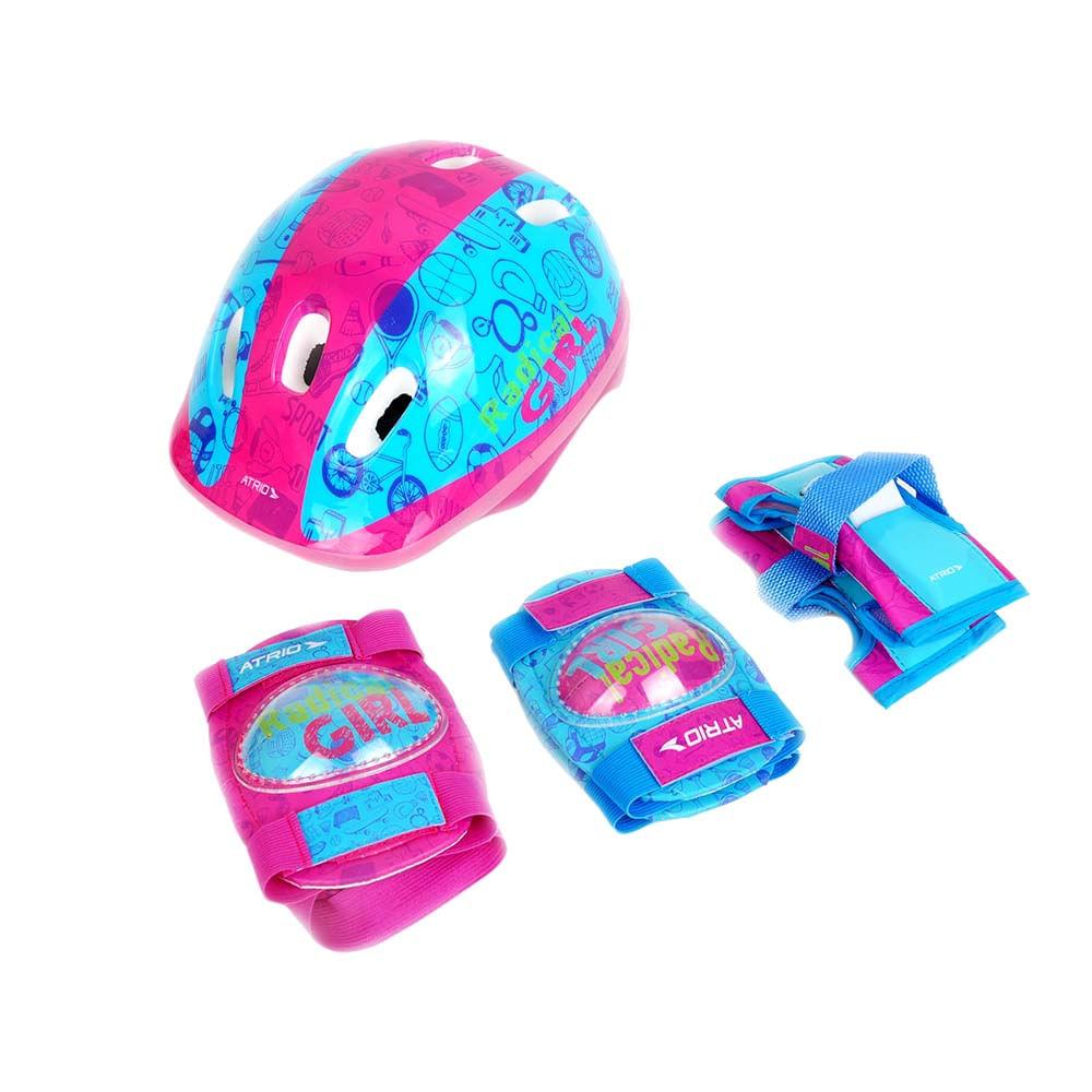 e3b72660d Kit de Proteção Capacete + Joelheiras + Cotoveleiras + Luvas para  Atividades Esportivas Modelo Radical Girl Rosa Azul Atrio - ES105