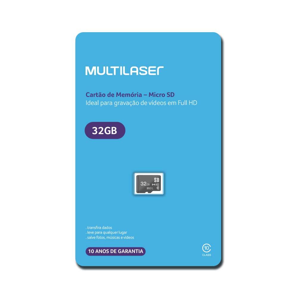 Cartão de Memória Multilaser Classe 10 32GB Preto - MC145
