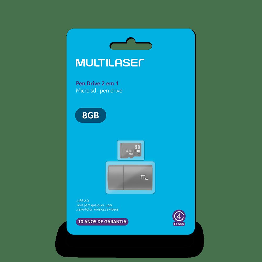 Pen Drive 2 em 1 Leitor USB + Cartão de Memória Classe 4 8GB Preto Multilaser - MC161