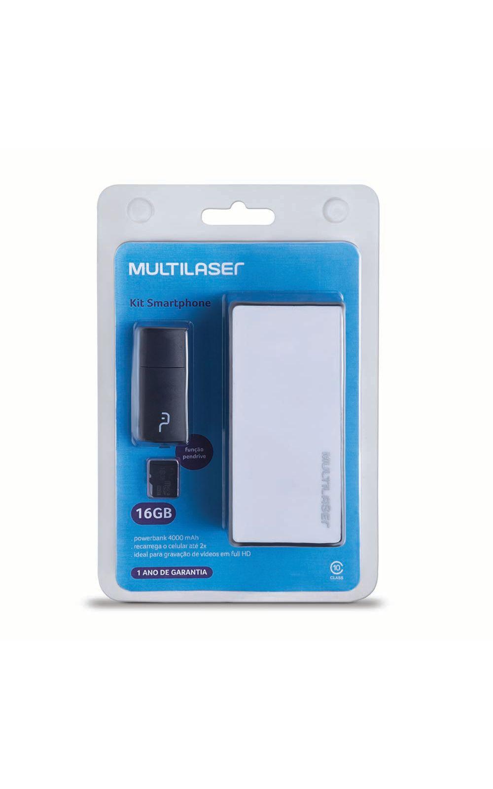 Foto 2 - Kit Power Bank + Pendrive + Cartão de Memória Micro SD com 16GB Multilaser - MC220