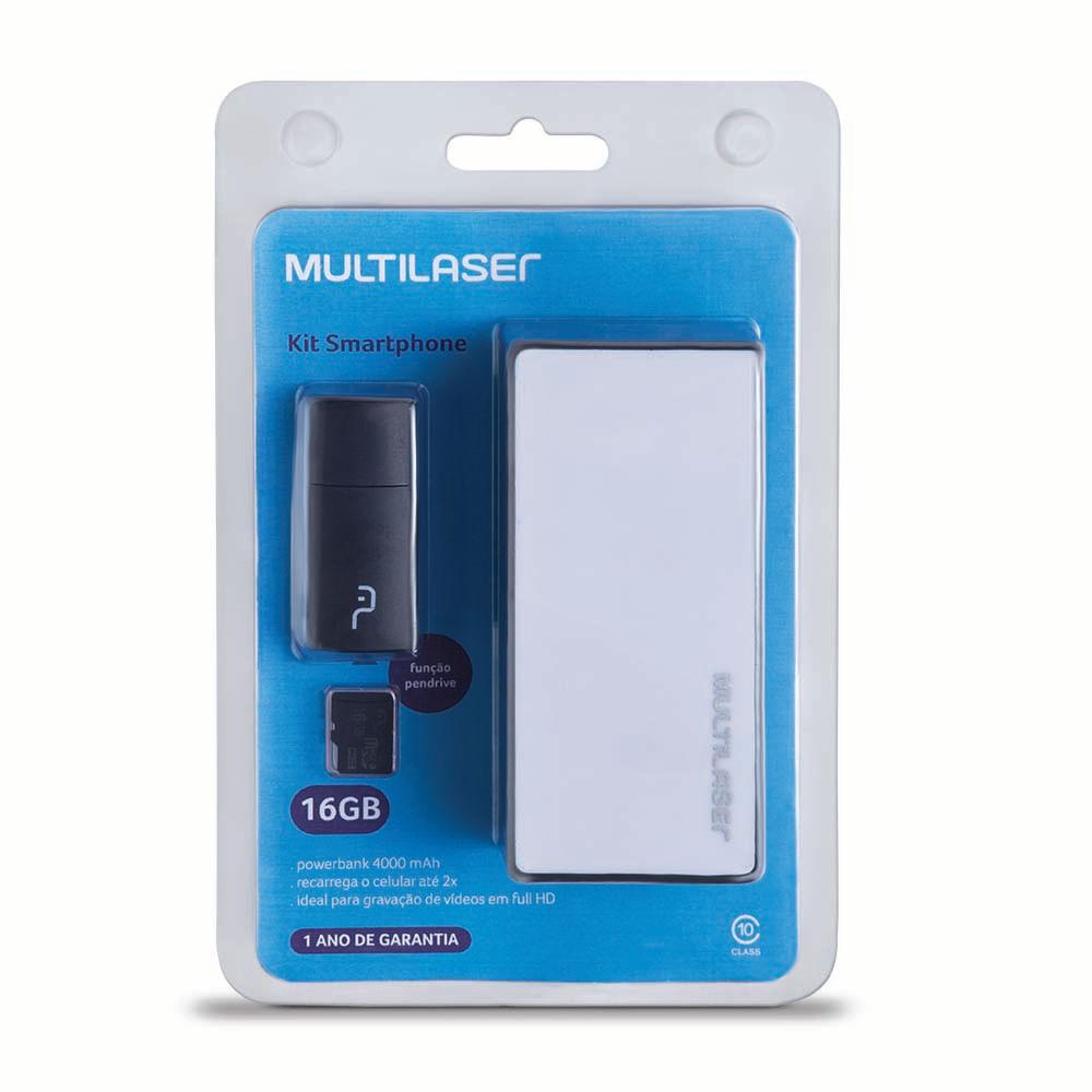 Foto 1 - Kit Power Bank + Pendrive + Cartão de memória Micro SD com 16GB Multilaser - MC220