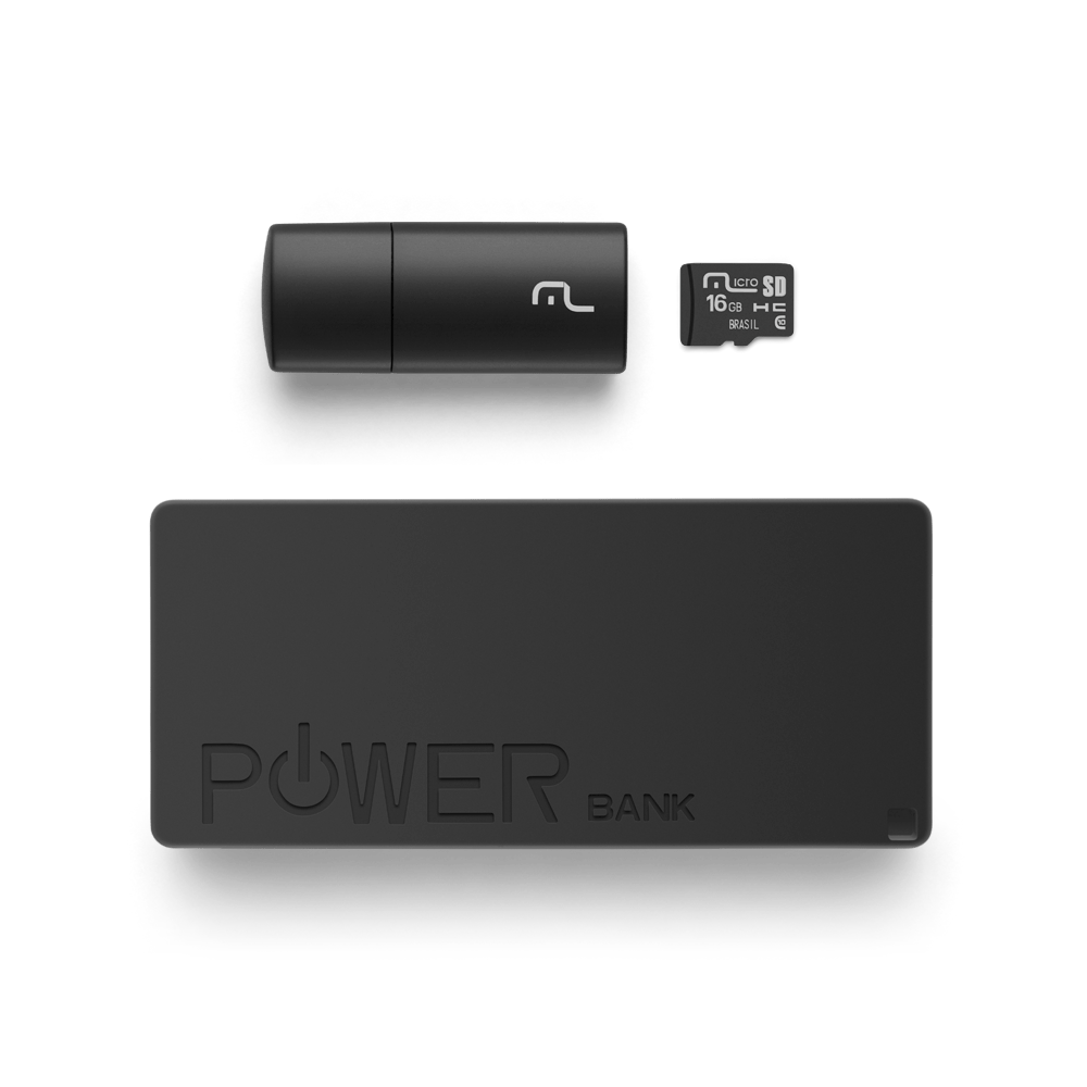 Foto 3 - Kit Power Bank + Pendrive + Cartão de memória Micro SD com 16GB Multilaser - MC220