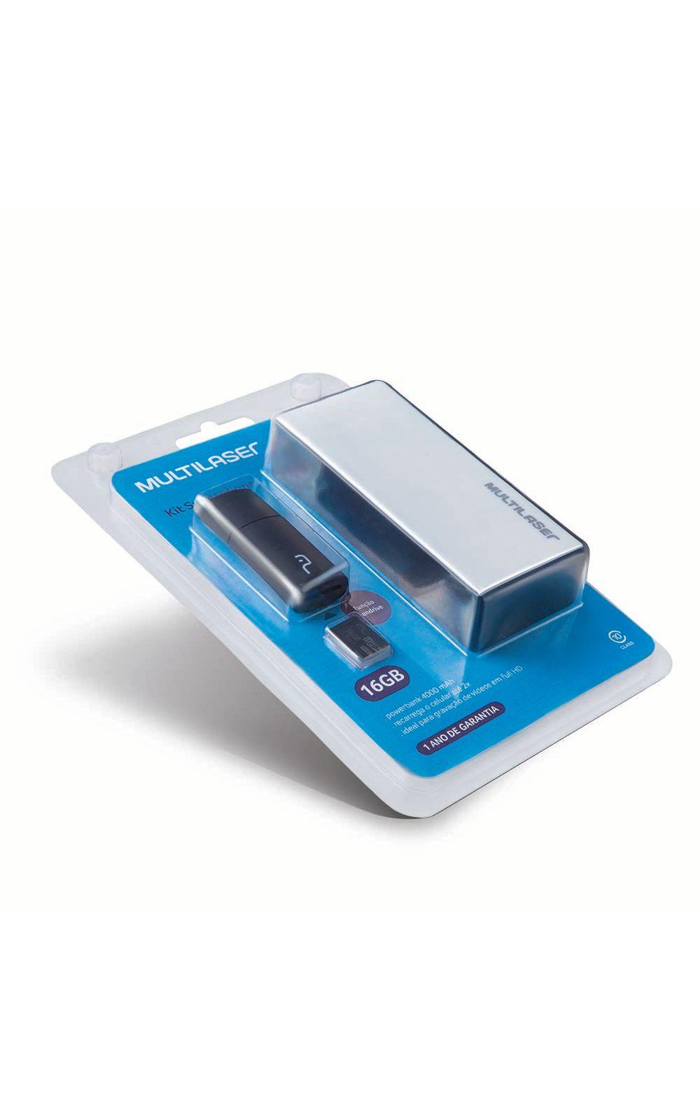 Foto 6 - Kit Power Bank + Pendrive + Cartão de Memória Micro SD com 16GB Multilaser - MC220