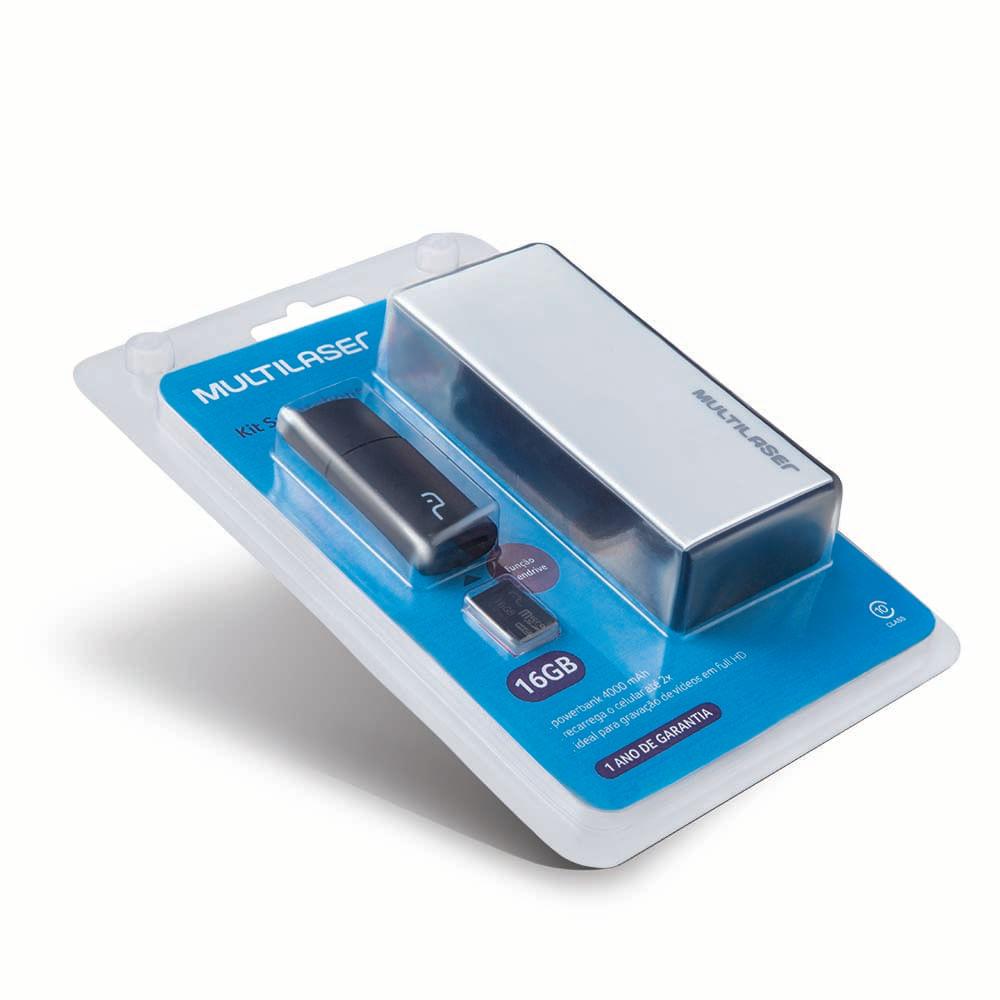 Foto 5 - Kit Power Bank + Pendrive + Cartão de memória Micro SD com 16GB Multilaser - MC220