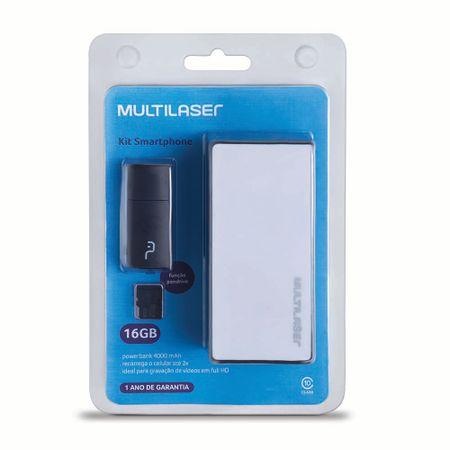 Foto 9 - Kit Power Bank + Pendrive + Cartão de Memória Micro SD com 16GB Multilaser - MC220