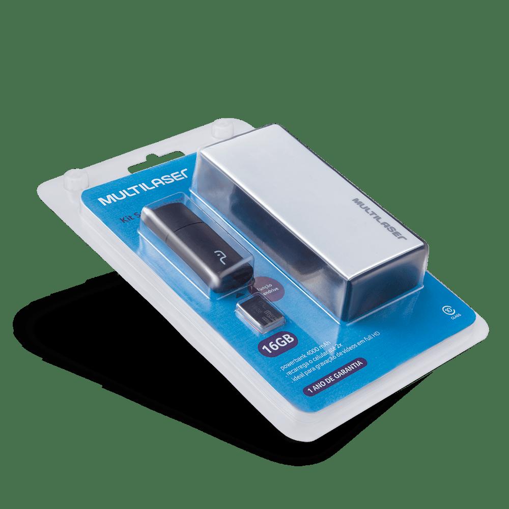 Foto 15 - Kit Power Bank + Pendrive + Cartão de memória Micro SD com 16GB Multilaser - MC220