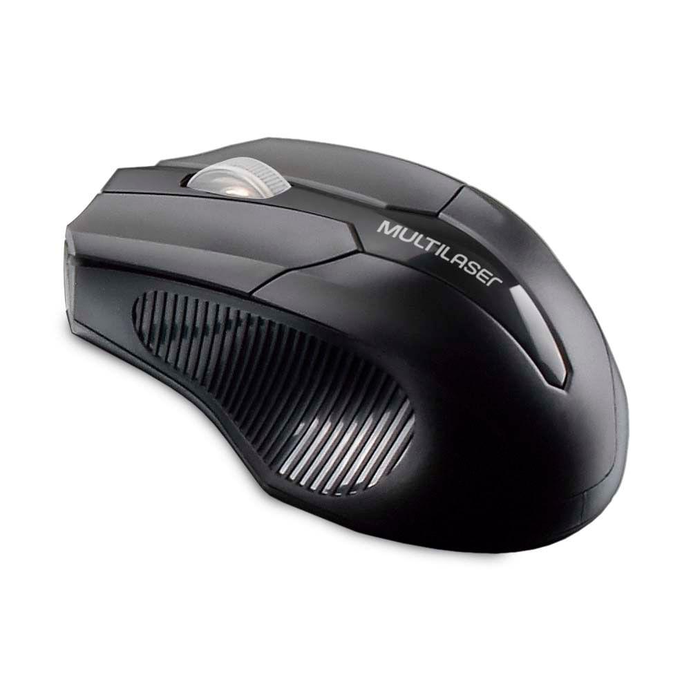 Foto 1 - Mouse sem fio 2.4 GHZ USB Box Multilaser Preto - MO264
