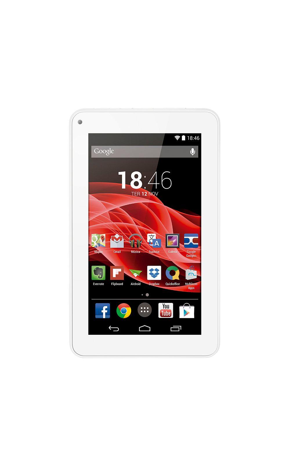 Foto 2 - Tablet Multilaser M7S Branco Quad Core Android 4.4 Kit Kat Dual Câmera Wi-Fi Tela Capacitiva 7 Memória 8GB - NB185