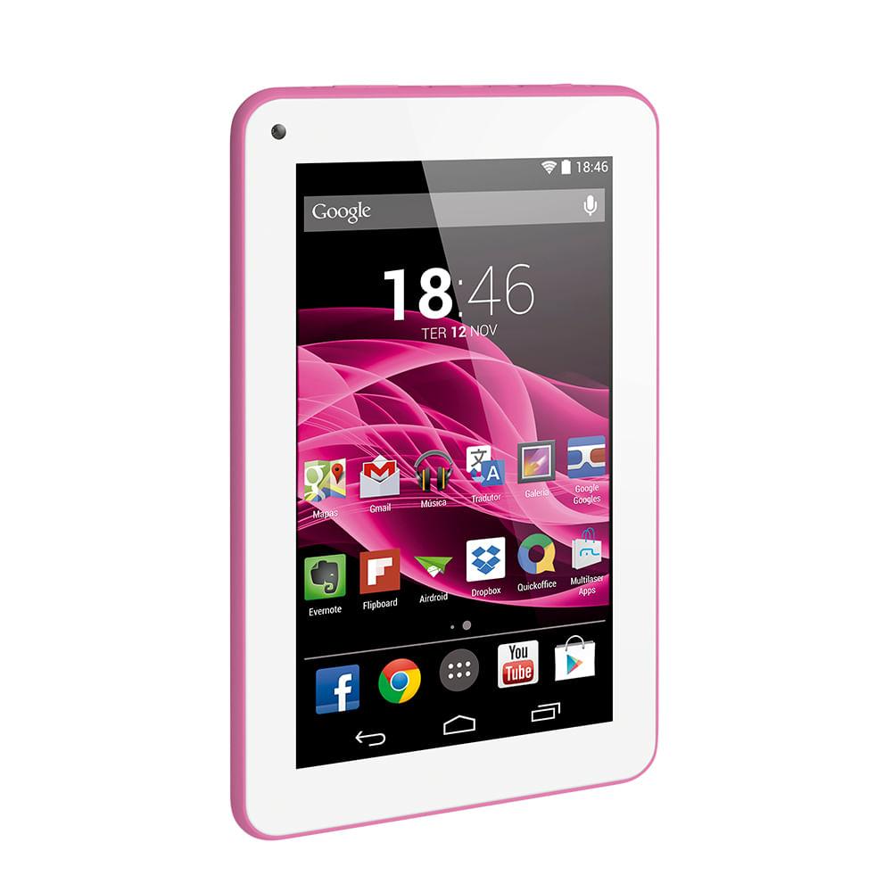 40568972d6c63 Tablet Multilaser M7S Rosa Quad Core Android 4.4 Kit Kat Dual Câmera Wi-Fi  Tela Capacitiva 7 Pol. Memória 8Gb - NB186