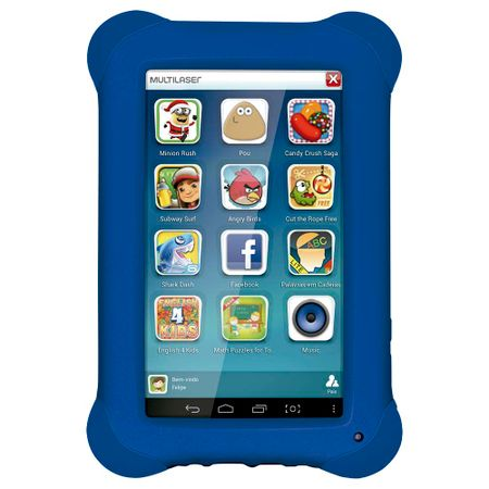 Tablet Multilaser Kid Pad Azul Quad Core Dual Câmera Wi-Fi Tela Capacitiva 7pol...
