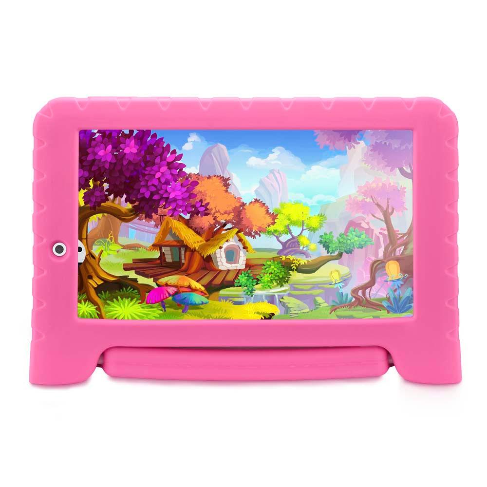 Foto 1 - Tablet Multilaser Kid Pad Plus Rosa 1GB Android 7 Wifi Memória 8GB Quad Core Multilaser - NB279