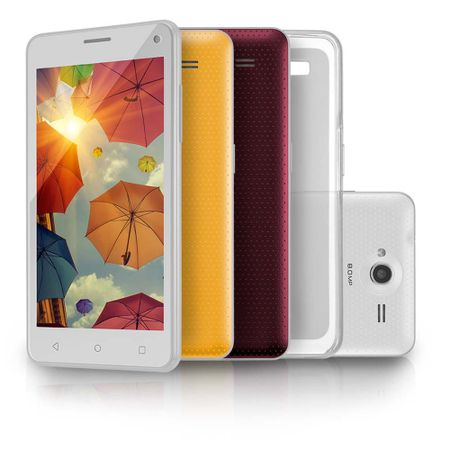 "Smartphone MS50 Colors Multilaser Branco 5"" 8.0MP 3G Quad 8GB 5.0 - P9002"