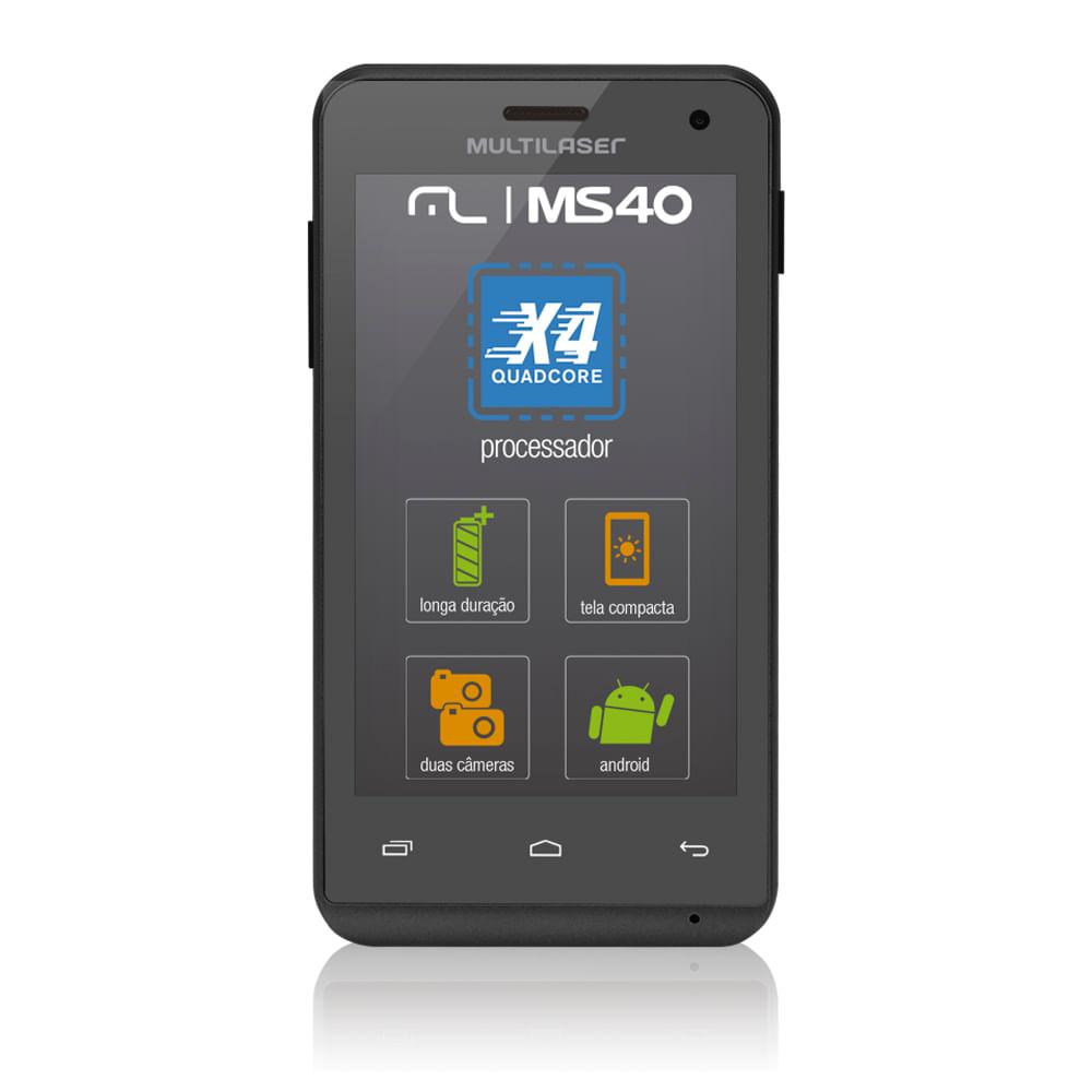 fa47bc3e5af Smartphone Multilaser Ms40 Cor Preta Tela 4 Pol. Câmera 2 Mp + 5 Mp 3G Quad  Core 4Gb Android 4.4 - P9007