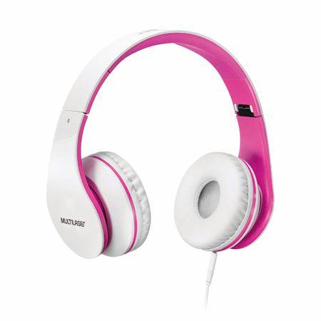 Fone De Ouvido Multilaser Com Microfone P2 Branco/Rosa - PH114