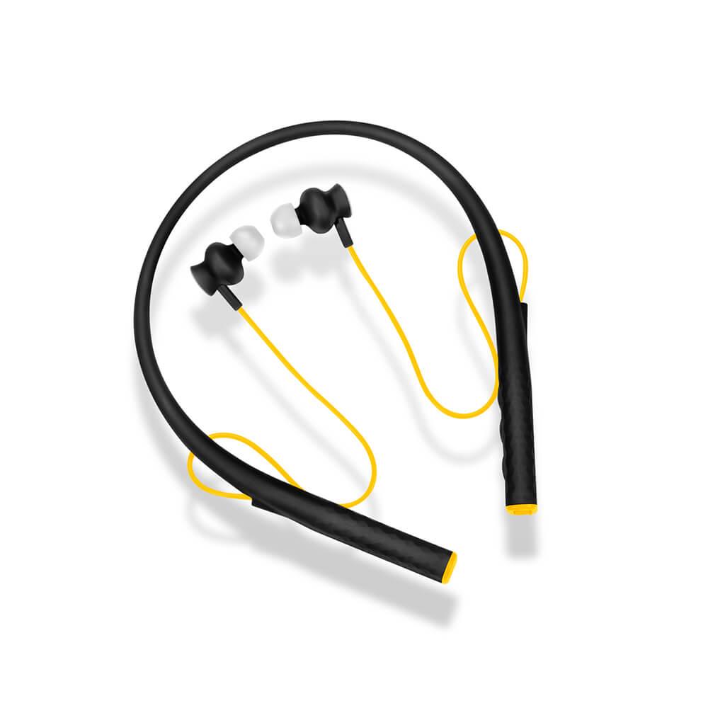 Earphone Pulse Rubber Arco Preto E Amarelo - PH240