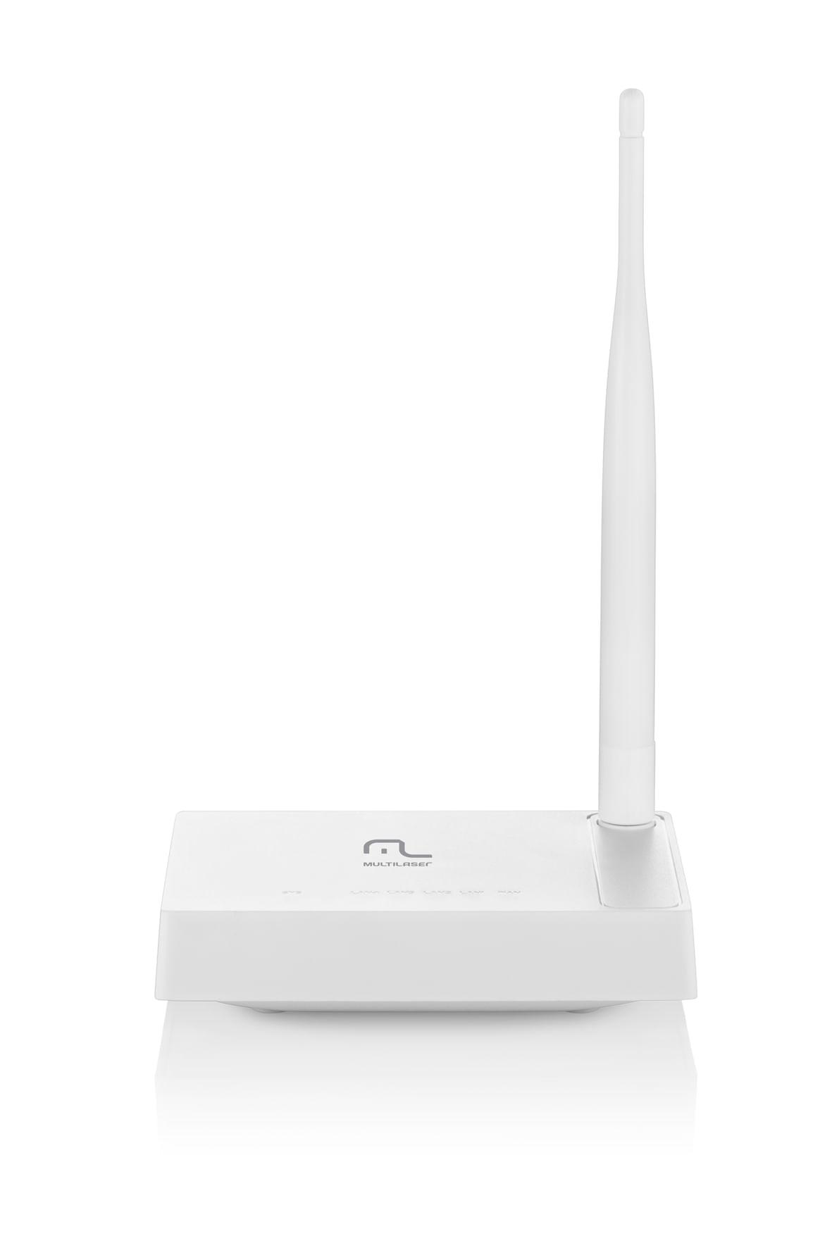 Foto 1 - Roteador Wireless 150Mbps 1 Antena Fixa 4 Portas Lan Multilaser RE057