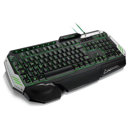 Teclado Gamer Warrior Com Teclas Macro LED Preto/Prata - TC189