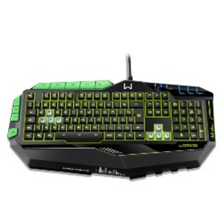 Teclado Gamer Warrior Com Teclas Macro LED Preto/Verde - TC199