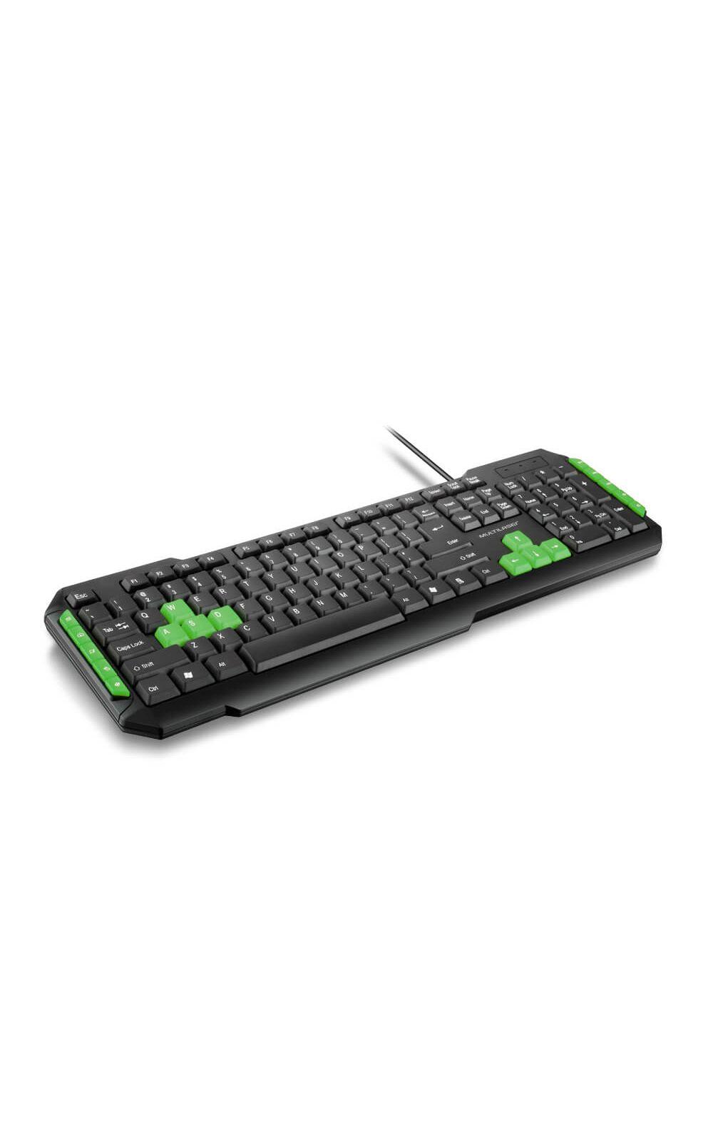 Foto 2 - Teclado Gamer Com Hotkeys Multimidia Preto/Verde Multilaser - TC201