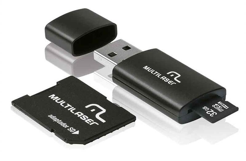 Adaptador 3 em 1 SD + Pen drive +Cartão De Memória Classe 10 32GB Preto Multilaser - MC113
