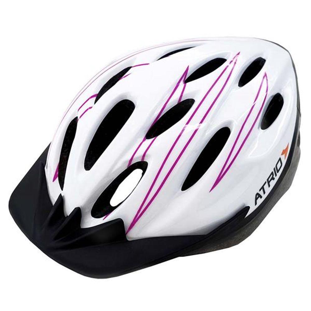 95868154b Capacete para Ciclismo MTB Tam. M Alças Ajustáveis e 19 Entradas de Ar  Rosa Branco Atrio - BI124