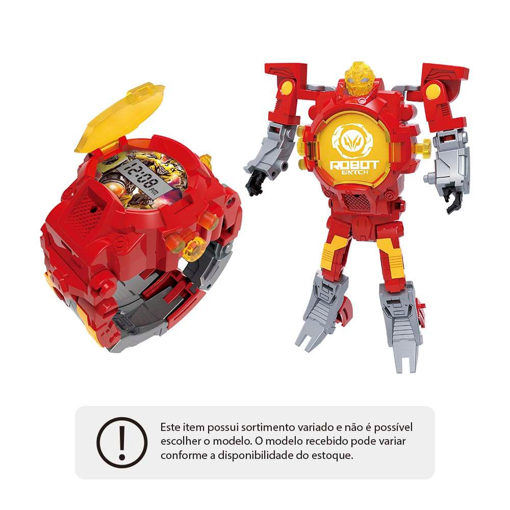 bbe241e48 Robot Watch Relógio + Robô Sortido Alimentação por 1 Bateria AG13 Indicado  para +4 Anos Multikids - BR498