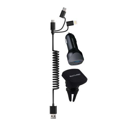 Kit Carregador Veicular 3 em 1 Multilaser USB + Type-C IPhone com Suporte...