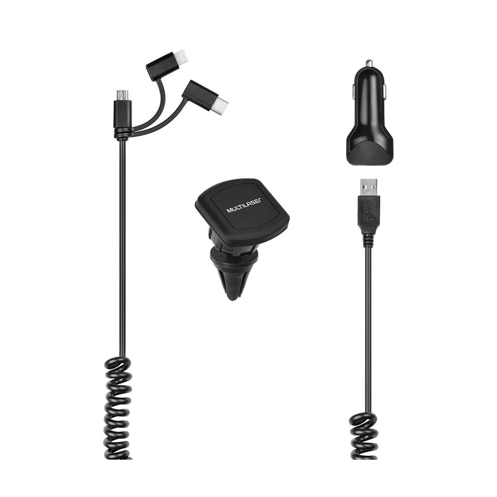 Kit Carregador Veicular 3 em 1 Multilaser USB + Type-C IPhone com Suporte Magnético Preto - CB134