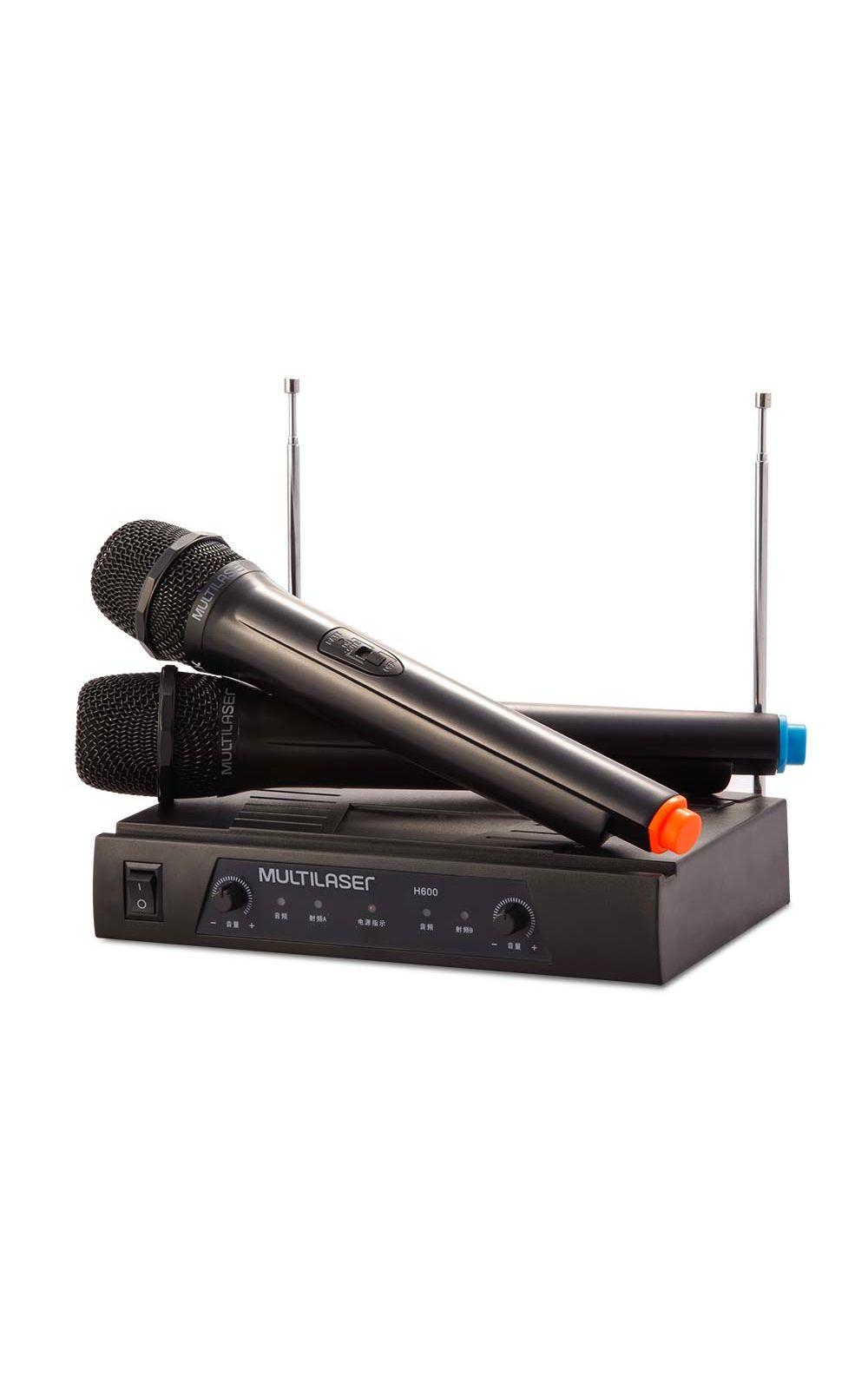 Foto 1 - Par de Microfone sem Fio Alcance de até 8M + Receiver Preto Multilaser - SP328