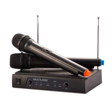 Par de Microfone sem Fio Alcance de até 8M + Receiver Preto Multilaser - SP328