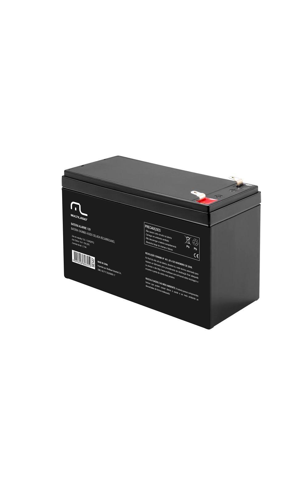 Foto 1 - Bateria estacionária carregador p/ alarme e cerca elétrica 12v - Multilaser - SE147