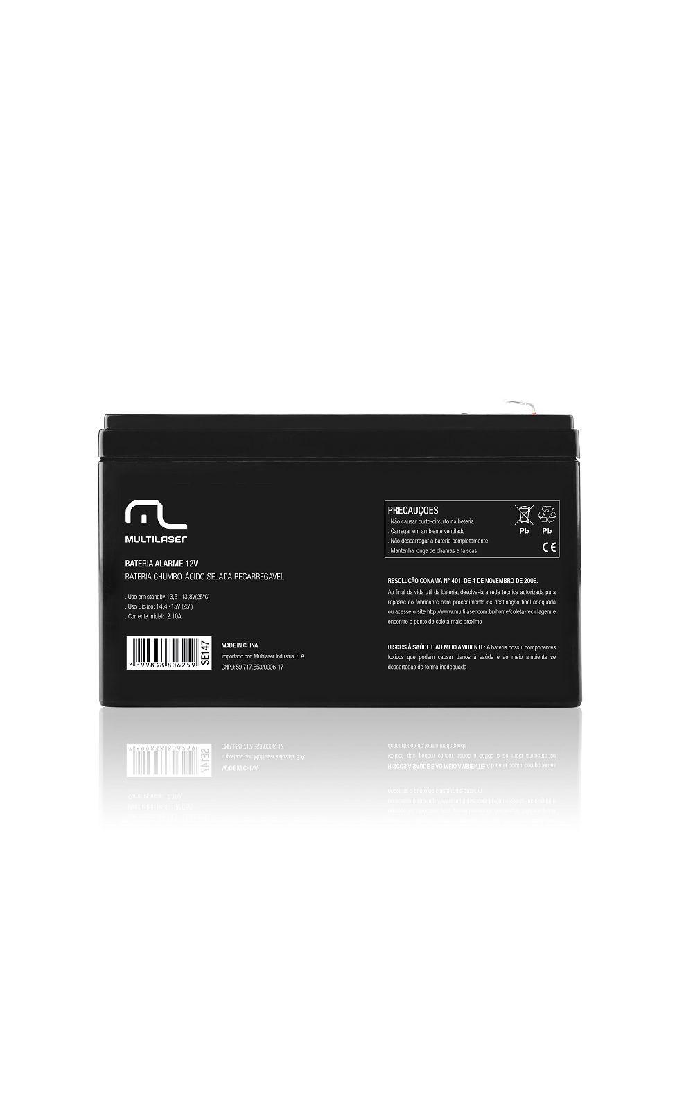 Foto 2 - Bateria estacionária carregador p/ alarme e cerca elétrica 12v - Multilaser - SE147
