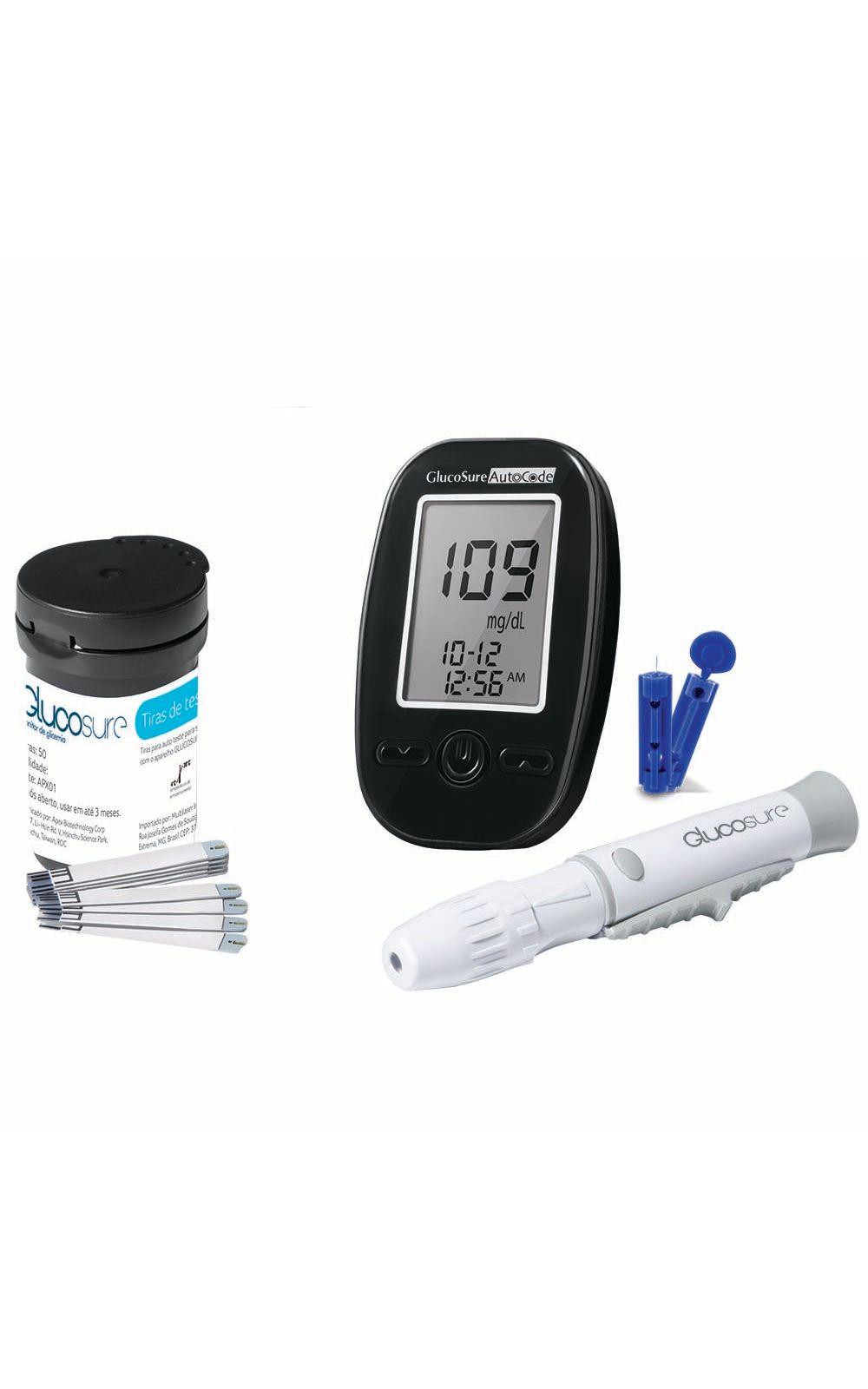 Foto 1 - Kit de 100 Tiras de Glicemia + Monitor de Glicemia GLUCOSURE Auto Code + Lancetador + Lancetas e Bolsa para Transporte Multilaser - HC160